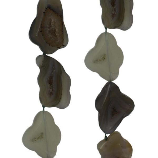 Achat-Geoden, natur, L35 B25 H9mm, Strang 40cm