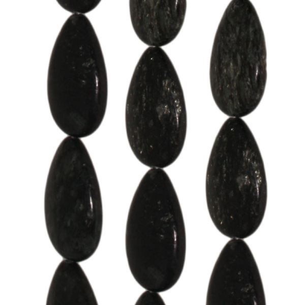 Biotit, Tropfenform, flach, L30 B22 H7mm, Strang 40cm