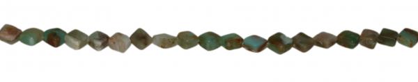 Blauer Andenopal, flach, quadratisch, diagonal gebohrt, Strang 40cm