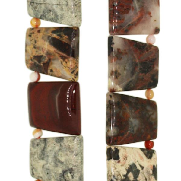 Breckzien Jaspis, Trapez Collier, L20 B25 H5mm, Strang 40cm