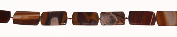 Cabernet Jaspis, rechteckig, flach, L38 B25 H7mm, Strang 40cm