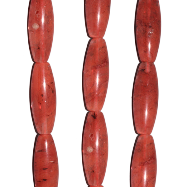 Erdbeerquarz, lange Oliven, rund, gekantet, L36-40 D12mm, Strang 40cm