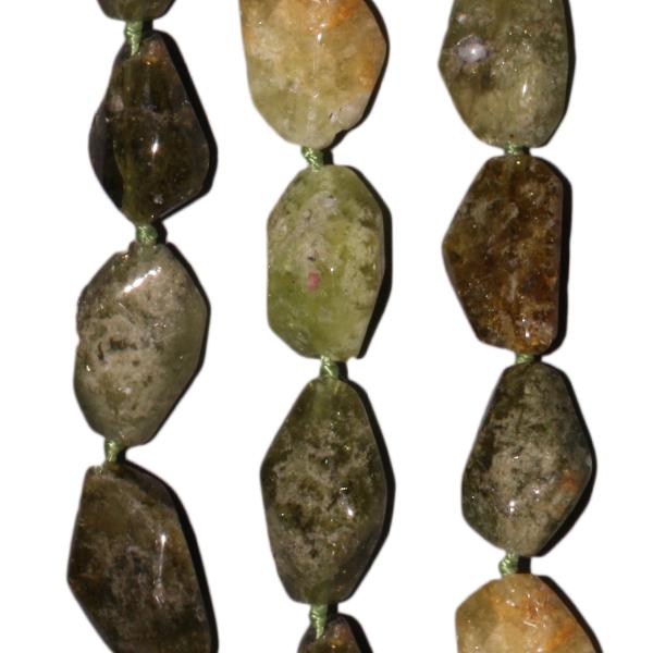Grossular, Nuggets, anfazettiert, L17 B12mm, Strang 40cm