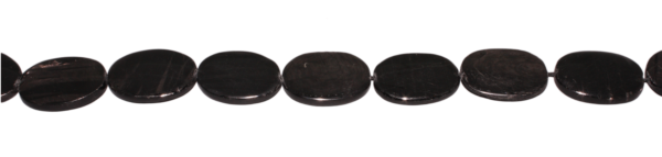 Hypersthen, oval, flach, L25 B18 H4mm, Strang 40cm