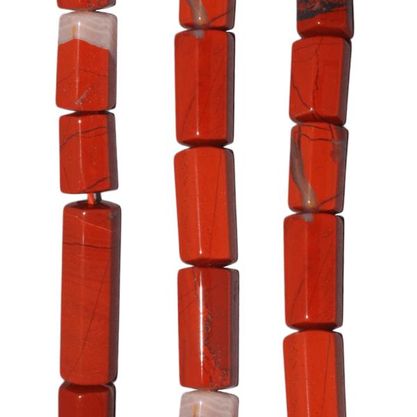 Jaspis, rot, Zylinder, 6kantig, L24 D10mm, Strang 40cm