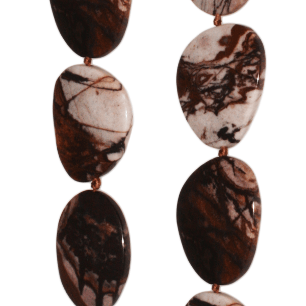 Outback Jaspis, free form, flach, L40 B36 H8mm, Strang 40cm