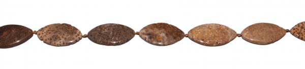 Palmen Jaspis, oval, flach, L37 B20 H7mm, Strang 40cm