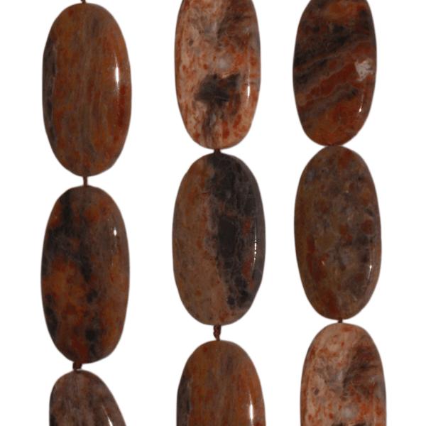 Pilbara Jaspis, oval, flach, L40 B24 H8mm, Strang 40cm
