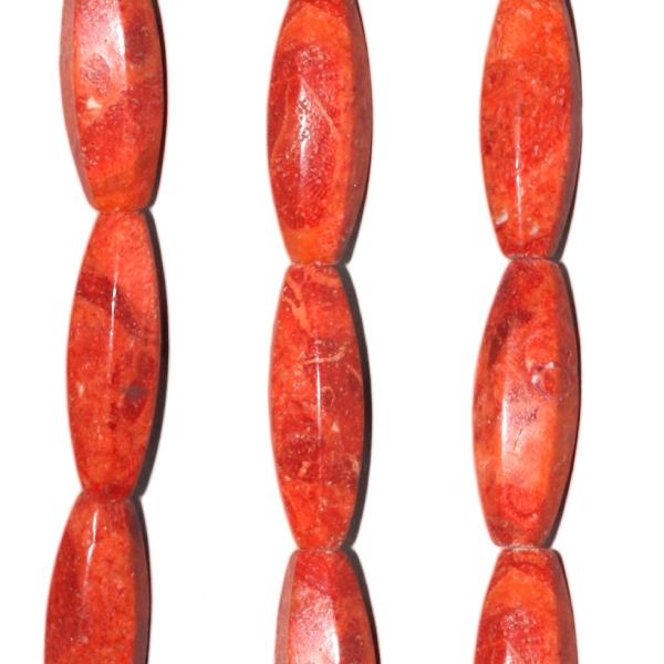 Schaumkoralle, Oliven, 6kant, L30 D10mm, Strang 40cm