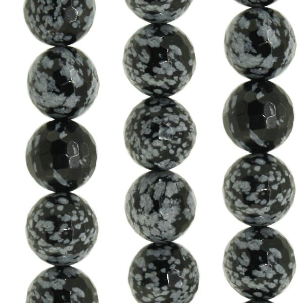 Schneeflocken Obsidian, facettiert Kugel D14mm