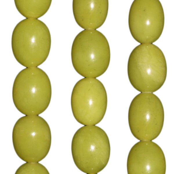 Serpentin (Gelbe Jade), Oliven formen ca. L19 D16mm