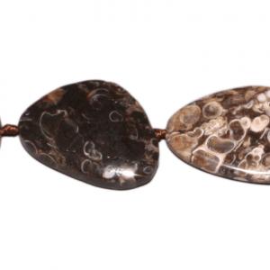 Turitella Achat, free form, flach, L29 B21 H7mm, Strang 40cm