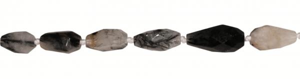 Turmalinquarz, Nuggets und Tropfen anfacettiert ca. L30 D17mm