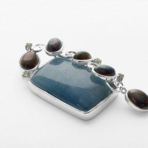 Aquamarin Schwarzer Opal Anhänger