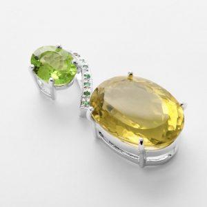 Lemonit Olivin Smaragd Anhänger
