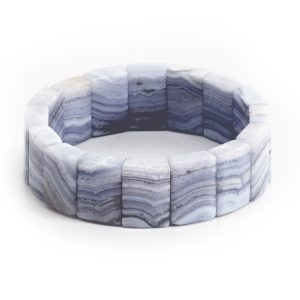 "Armband Blauer Streifenachat – ""Taubenblau"""