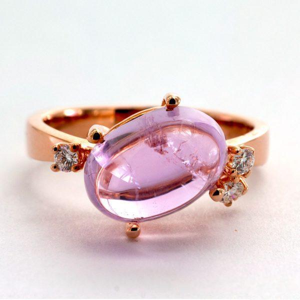 Kunzit Diamant Ring