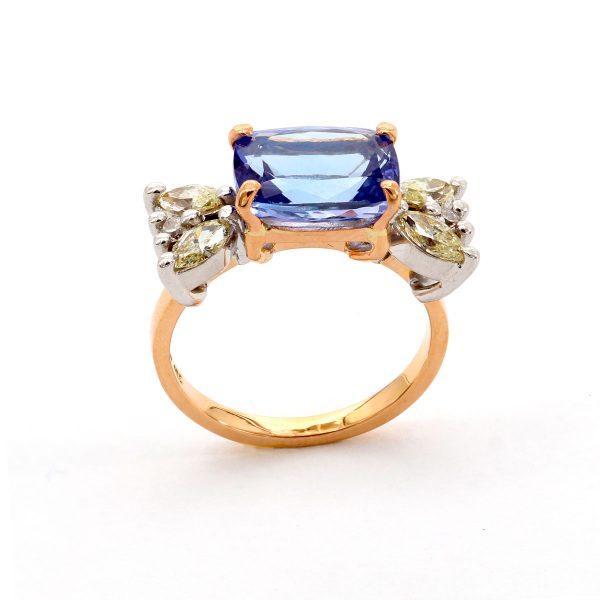 Tansanit Gelber Diamant Ring