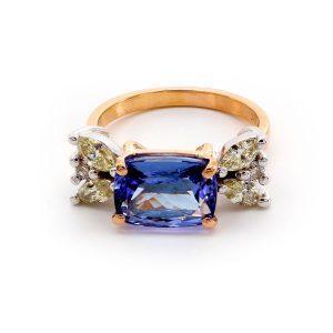 "Ring Tansanit & Yellow Diamond – ""Art Deco"""