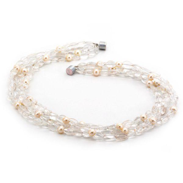 Edelsteincollier Bergkristall Perlen