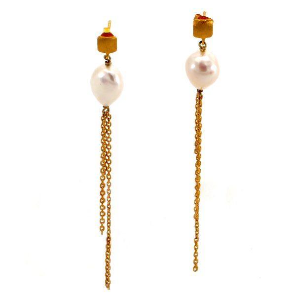 Ohrgehänge Gold Perle