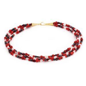 """Edelsteincollier Koralle & Granat & Blutstein – """"Lady in Red"""""""