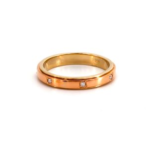 "Ring Gelbgold & Roségold & Diamant – ""Wedding Band"""